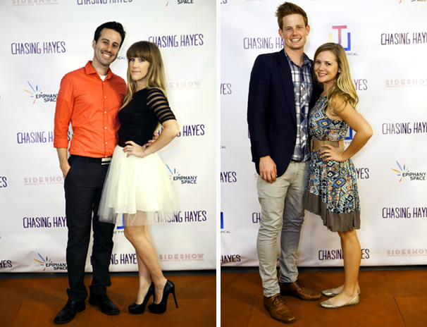 LEFT: Director Erin Brown with her husband, Jake Thomas RIGHT: Producer Jeff Larson with his wife, Writer & Actress Erika Larson